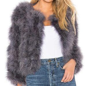Elliatt Hepburn Ostrich Feather Purple Jacket
